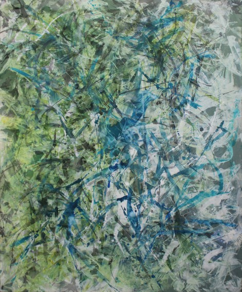 "Blue in Green - Ink and Acrylic, 48"" x 60""'"