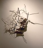 Extrapolation 1 - Found Metal, Steel Wire, Gypsum Cement, Linen, and Acrylic Paint - 68 x 72.5 x 19""